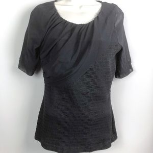 Anthropologie Deletta Black Top with Mesh Sleeves